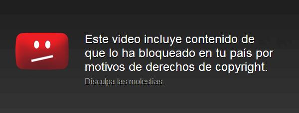 youtube video bloqueado por derechos de autor