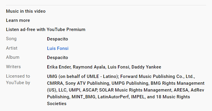 how to find out what music is copyrighted on youtube video description
