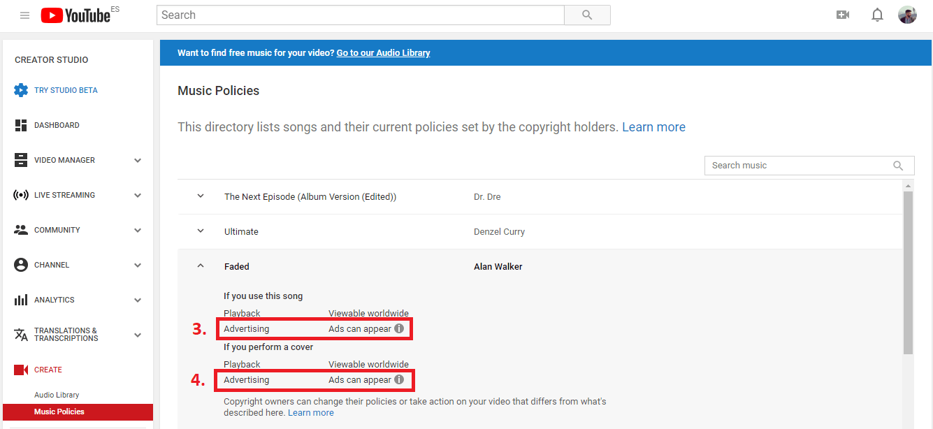 How to know Instantly if a song is Copyrighted?
