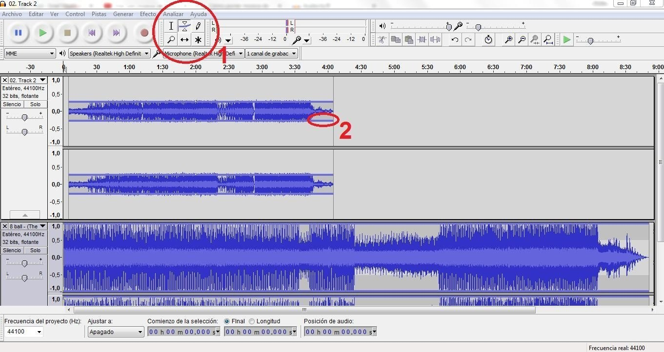 cancion de fondo a audacity