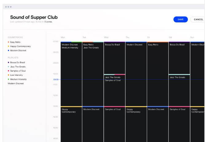 programar musica restaurante horas